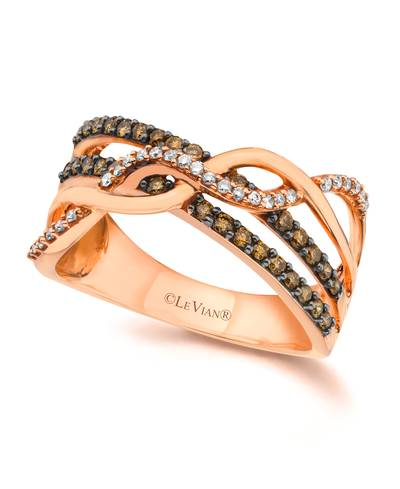 14K Strawberry Gold® Ring with Chocolate Diamonds® 1/3 cts., Vanilla Diamonds® 1/10 cts. | YQHI 3