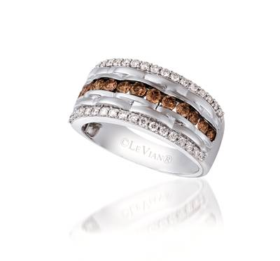 14K Vanilla Gold® Ring with Chocolate Diamonds® 3/4 cts., Vanilla Diamonds® 1/2 cts. | YQHJ 23