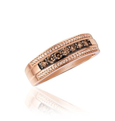 14K Strawberry Gold® Ring with Chocolate Diamonds® 3/8 cts., Vanilla Diamonds® 1/8 cts. | YQHJ 31
