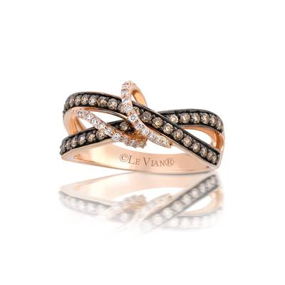 14K Strawberry Gold® Ring with Chocolate Diamonds® 3/8 cts., Vanilla Diamonds® 1/10 cts. | YQHO 1