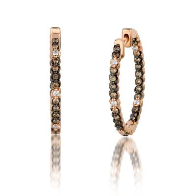 14K Strawberry Gold® Earrings with Vanilla Diamonds® 1/8 cts., Chocolate Diamonds® 1/2 cts. | YQHY 14