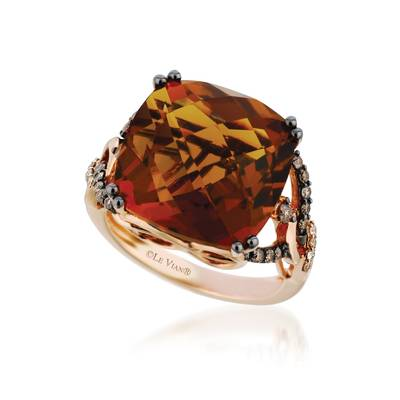 14K Strawberry Gold® Cinnamon Citrine® 13 1/2 cts. Ring with Chocolate Diamonds® 1/3 cts., Vanilla Diamonds®  cts. | YQIB 4