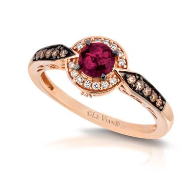 14K Strawberry Gold® Raspberry Rhodolite® 5/8 cts. Ring with Chocolate Diamonds® 1/10 cts., Vanilla Diamonds® 1/15 cts. | YQIG 238