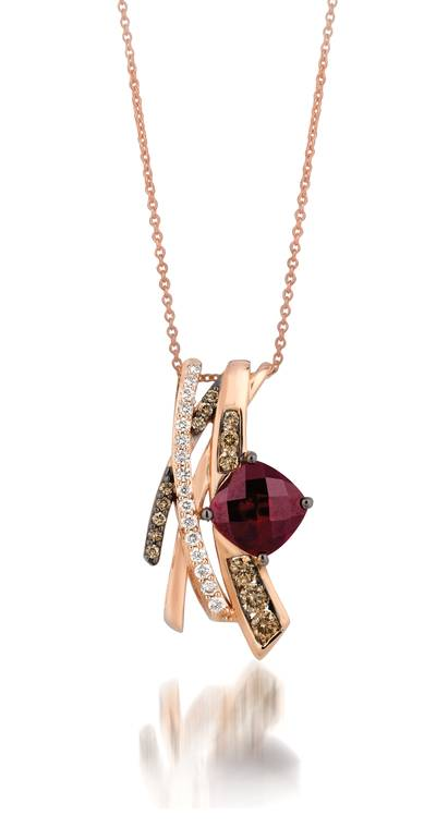 14K Strawberry Gold® Raspberry Rhodolite® 2  7/8 cts. Pendant with Chocolate Diamonds® 3/8 cts., Vanilla Diamonds® 1/5 cts. | YQII 24