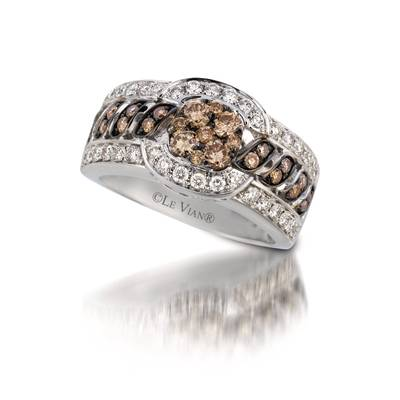 14K Vanilla Gold® Ring with Chocolate Diamonds® 5/8 cts., Vanilla Diamonds® 5/8 cts. | YQII 383