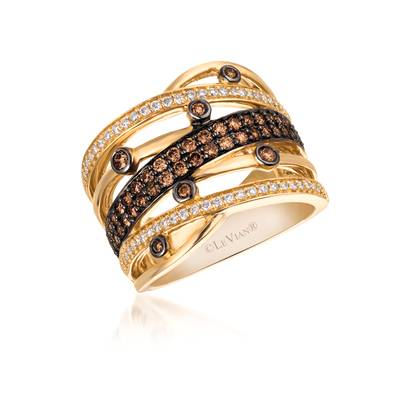 14K Honey Gold™ Ring with Chocolate Diamonds® 1/2 cts., Vanilla Diamonds® 1/4 cts. | YQII 44