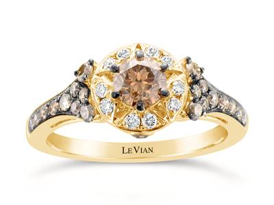 14K Honey Gold™ Ring with Chocolate Diamonds® 7/8 cts., Vanilla Diamonds® 1/8 cts. | YQII 69CH