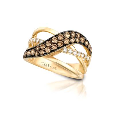 14K Honey Gold™ Ring with Chocolate Diamonds® 3/4 cts., Vanilla Diamonds® 1/4 cts. | YQIL 95