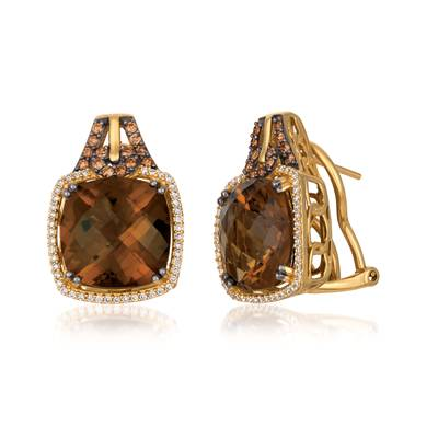 14K Honey Gold™ Caramel Quartz™ 15 cts. Earrings with Chocolate Diamonds® 1/3 cts., Vanilla Diamonds® 1/3 cts. | YQIN 3