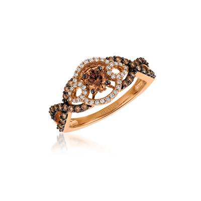 14K Strawberry Gold® Ring with Chocolate Diamonds® 5/8 cts., Vanilla Diamonds® 1/8 cts. | YQJH 10