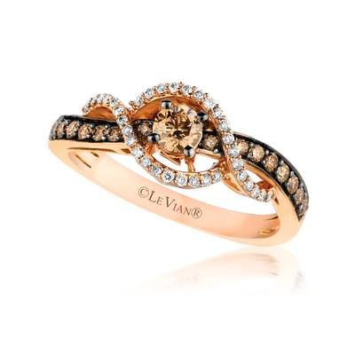 14K Strawberry Gold® Ring with Chocolate Diamonds® 1/2 cts., Vanilla Diamonds® 1/8 cts. | YQJH 16