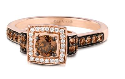 14K Strawberry Gold® Ring with Chocolate Diamonds® 1/2 cts., Vanilla Diamonds® 1/10 cts. | YQJH 22