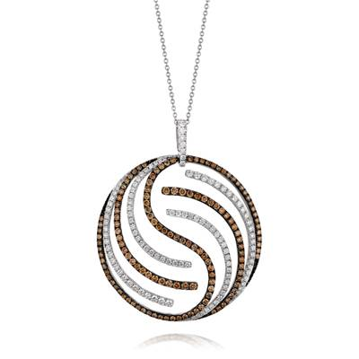 18K Vanilla Gold® Pendant with Chocolate Diamonds® 1  3/4 cts., Vanilla Diamonds® 1  1/4 cts. | YQJI 4