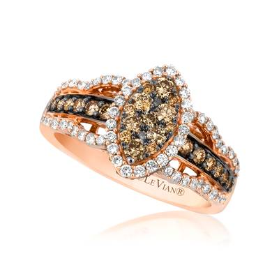 14K Strawberry Gold® Ring with Chocolate Diamonds® 7/8 cts., Vanilla Diamonds® 3/8 cts. | YQJS 2