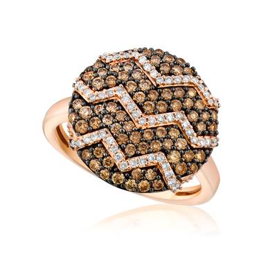 14K Strawberry Gold® Ring with Chocolate Diamonds® 3/4 cts., Vanilla Diamonds® 1/5 cts. | YQJT 1
