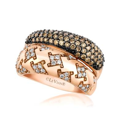 14K Strawberry Gold® Ring with Chocolate Diamonds® 3/4 cts., Vanilla Diamonds® 1/4 cts. | YQJY 31