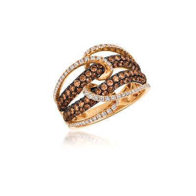 14K Strawberry Gold® Ring with Vanilla Diamonds® 3/8 cts., Chocolate Diamonds® 1  1/4 cts. | YQKG 29