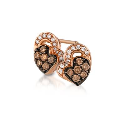 14K Strawberry Gold® Earrings with Chocolate Diamonds® 1/5 cts., Vanilla Diamonds® 1/15 cts. | YQKU 2