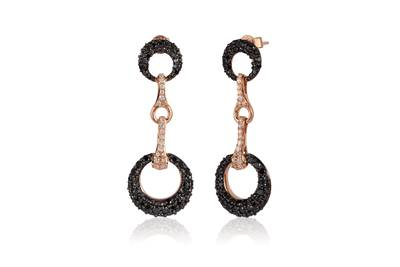 14K Strawberry Gold® Earrings with Blackberry Diamonds® 2  1/2 cts., Vanilla Diamonds® 1/3 cts. | YQKZ 115