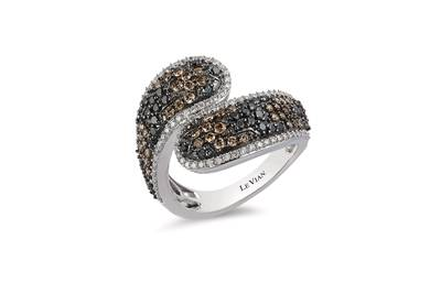 14K Vanilla Gold® Ring with Black Diamonds 1/2 cts., Chocolate Diamonds® 1/2 cts., Vanilla Diamonds® 3/8 cts. | YQKZ 86