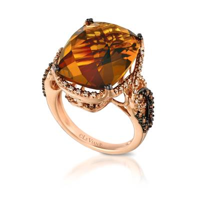 14K Strawberry Gold® Caramel Quartz™ 12 5/8 cts. Ring with Chocolate Diamonds® 1/5 cts., Vanilla Diamonds® 1/6 cts. | YQLB 18