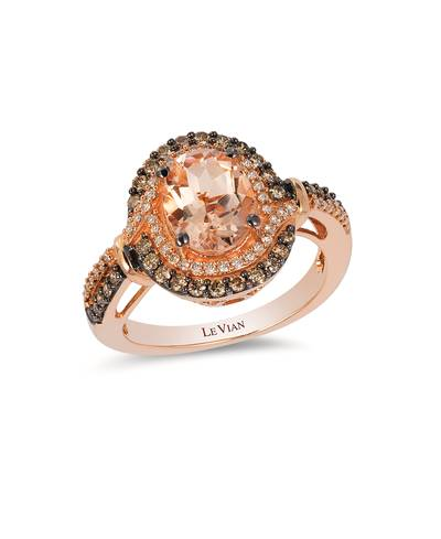 14K Strawberry Gold® Peach Morganite™ 1  1/3 cts. Ring with Chocolate Diamonds® 1/3 cts., Vanilla Diamonds® 1/6 cts. | YQLB 22
