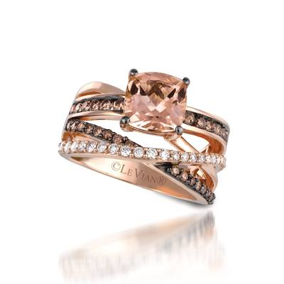 14K Strawberry Gold® Peach Morganite™ 1  5/8 cts. Ring with Chocolate Diamonds® 1/2 cts., Vanilla Diamonds® 1/4 cts. | YQLB 23