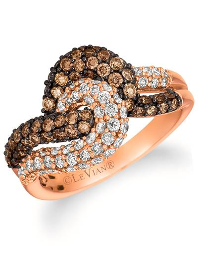 14K Strawberry Gold® Ring with Chocolate Diamonds® 7/8 cts., Vanilla Diamonds® 5/8 cts. | YQLC 26