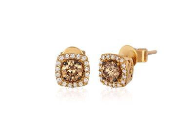 14K Honey Gold™ Earrings with Chocolate Diamonds® 1/2 cts., Vanilla Diamonds® 1/8 cts. | YQLP 11