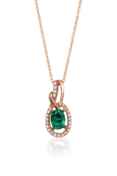14K Strawberry Gold® Costa Smeralda Emeralds™ 5/8 cts. Pendant with Vanilla Diamonds® 1/6 cts. | YQLT 33