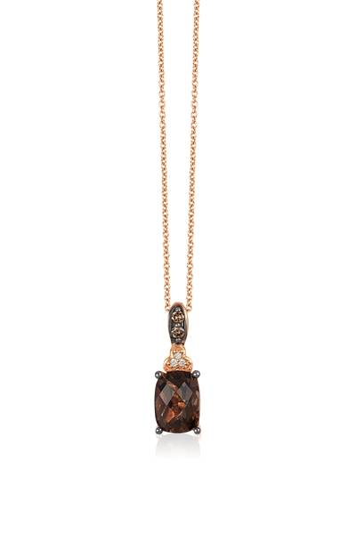 14K Strawberry Gold® Chocolate Quartz® 1  1/4 cts. Pendant with Chocolate Diamonds® 1/20 cts., Vanilla Diamonds®  cts. | YQLX 28