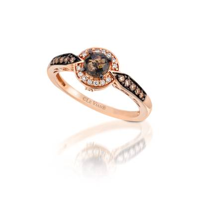14K Strawberry Gold® Chocolate Quartz® 3/8 cts. Ring with Chocolate Diamonds® 1/10 cts., Vanilla Diamonds® 1/15 cts. | YQLY 12