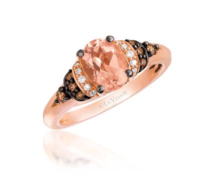 14K Strawberry Gold® Peach Morganite™ 7/8 cts. Ring with Chocolate Diamonds® 1/8 cts., Vanilla Diamonds® 1/20 cts. | YQLY 7