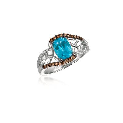 14K Vanilla Gold® Blue Topaz 1  5/8 cts. Ring with Chocolate Diamonds® 1/6 cts., Vanilla Diamonds®  cts. | YQMA 200