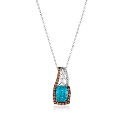 14K Vanilla Gold® Blue Topaz 1  5/8 cts. Pendant with Chocolate Diamonds® 1/5 cts., Vanilla Diamonds®  cts. | YQMA 201