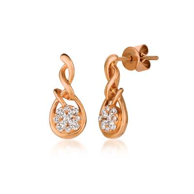 14K Strawberry Gold® Earrings with Vanilla Diamonds® 1/3 cts. | YQMA 217