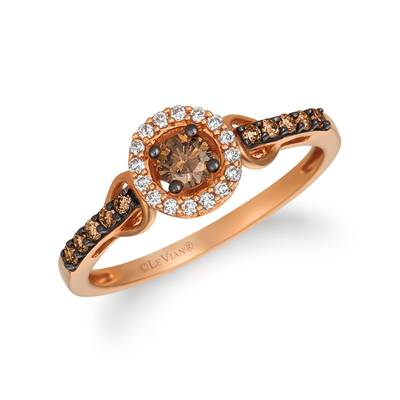 14K Strawberry Gold® Ring with Chocolate Diamonds® 1/4 cts., Vanilla Diamonds® 1/15 cts. | YQMA 43