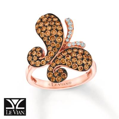 14K Strawberry Gold® Ring with Chocolate Diamonds® 1 cts., Vanilla Diamonds® 1/15 cts. | YQMA 458