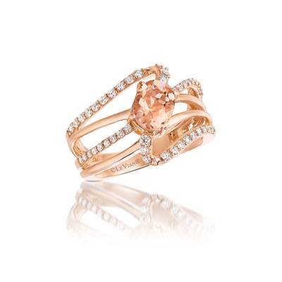 14K Strawberry Gold® Peach Morganite™ 7/8 cts. Ring with Vanilla Diamonds® 3/8 cts. | YQMF 4