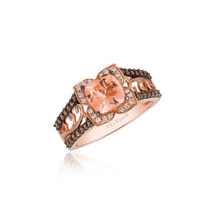 14K Strawberry Gold® Peach Morganite™ 1 cts. Ring with Chocolate Diamonds® 1/3 cts., Vanilla Diamonds® 1/10 cts. | YQMG 5