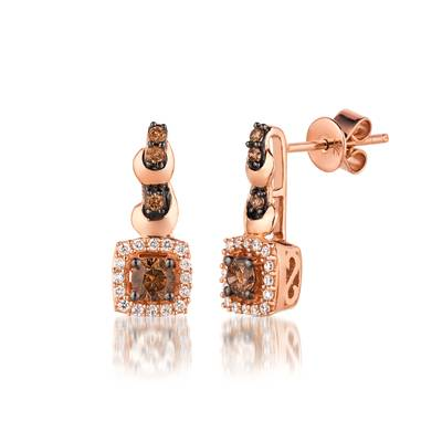 14K Strawberry Gold® Earrings with Chocolate Diamonds® 3/8 cts., Vanilla Diamonds® 1/6 cts. | YQML 10