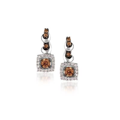 14K Vanilla Gold® Earrings with Chocolate Diamonds® 3/8 cts., Vanilla Diamonds® 1/6 cts. | YQML 10WG
