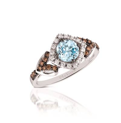 14K Vanilla Gold® Sea Blue Aquamarine® 5/8 cts. Ring with Chocolate Diamonds® 1/5 cts., Vanilla Diamonds® 1/10 cts. | YQML 20