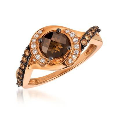 14K Strawberry Gold® Chocolate Quartz® 3/4 cts. Ring with Chocolate Diamonds® 1/6 cts., Vanilla Diamonds® 1/15 cts. | YQML 30