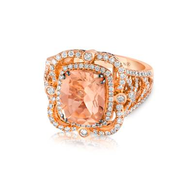 18K Strawberry Gold® Peach Morganite™ 2  7/8 cts. Ring with Vanilla Diamonds® 7/8 cts., Chocolate Diamonds® 1/5 cts. | YQMR 5