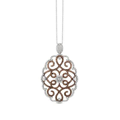 14K Vanilla Gold® Pendant with Vanilla Diamonds® 1 cts., Chocolate Diamonds® 1  1/2 cts. | YQMY 3