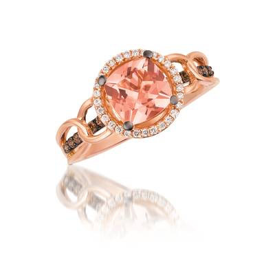 14K Strawberry Gold® Peach Morganite™ 1 cts. Ring with Chocolate Diamonds® 1/8 cts., Vanilla Diamonds® 1/10 cts. | YQNK 26