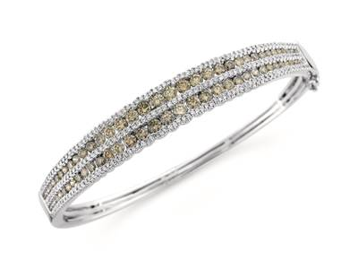 18K Vanilla Gold® Bangle with Chocolate Diamonds® 2  5/8 cts., Vanilla Diamonds® 7/8 cts. | YQNS 34