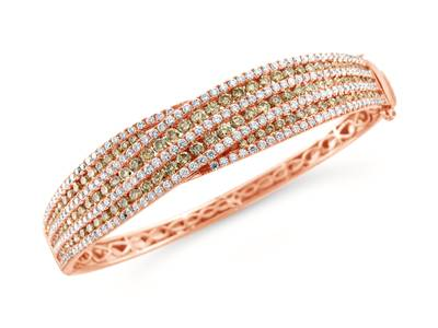 18K Strawberry Gold® Bracelet with Chocolate Diamonds® 3  1/3 cts., Vanilla Diamonds® 2 cts. | YQNS 4
