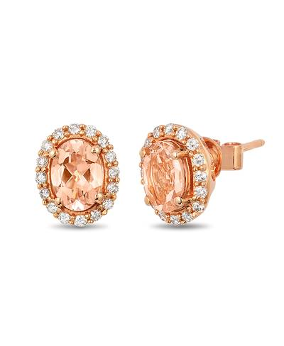 14K Strawberry Gold® Peach Morganite™ 1 cts. Earrings with Vanilla Diamonds® 1/3 cts. | YQNY 12